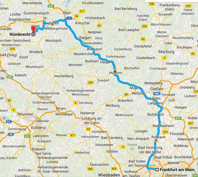 Wegbeschreibung Frankfurt - Nümbrecht