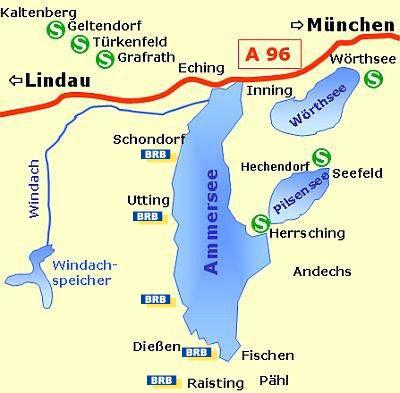 Karte vom Ammersee
